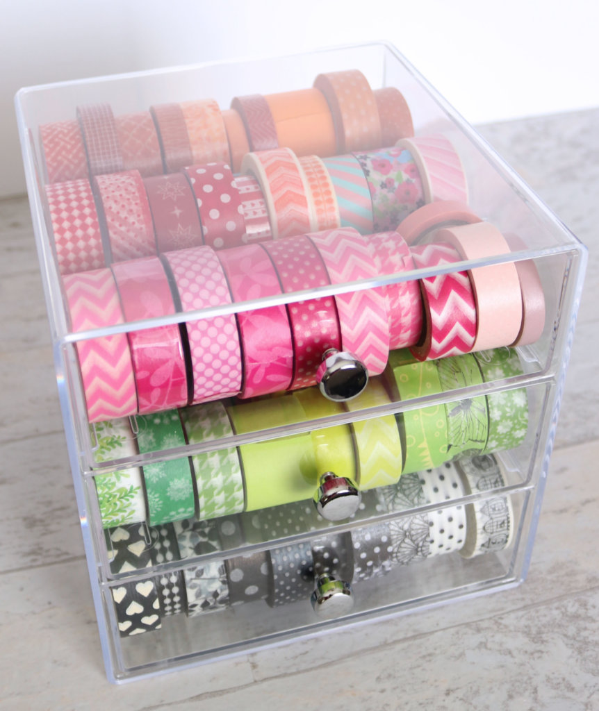 How to organize washi tape in the best way for maximizing space while also maintaining aesthetics. Awesome craft room organization ideas.