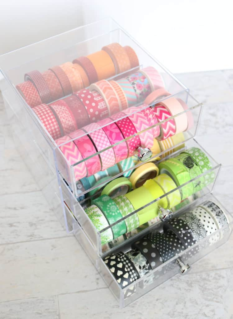 How to organize washi tape in the best way possible. It's visible, accessible, and pretty to look at.