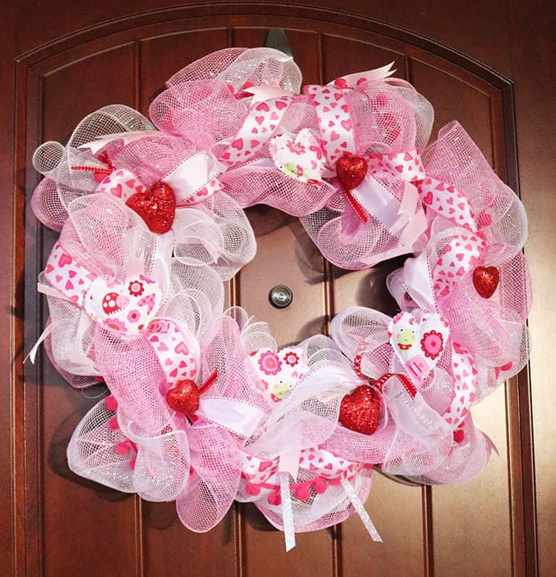 pink Valentine's deco mesh wreath