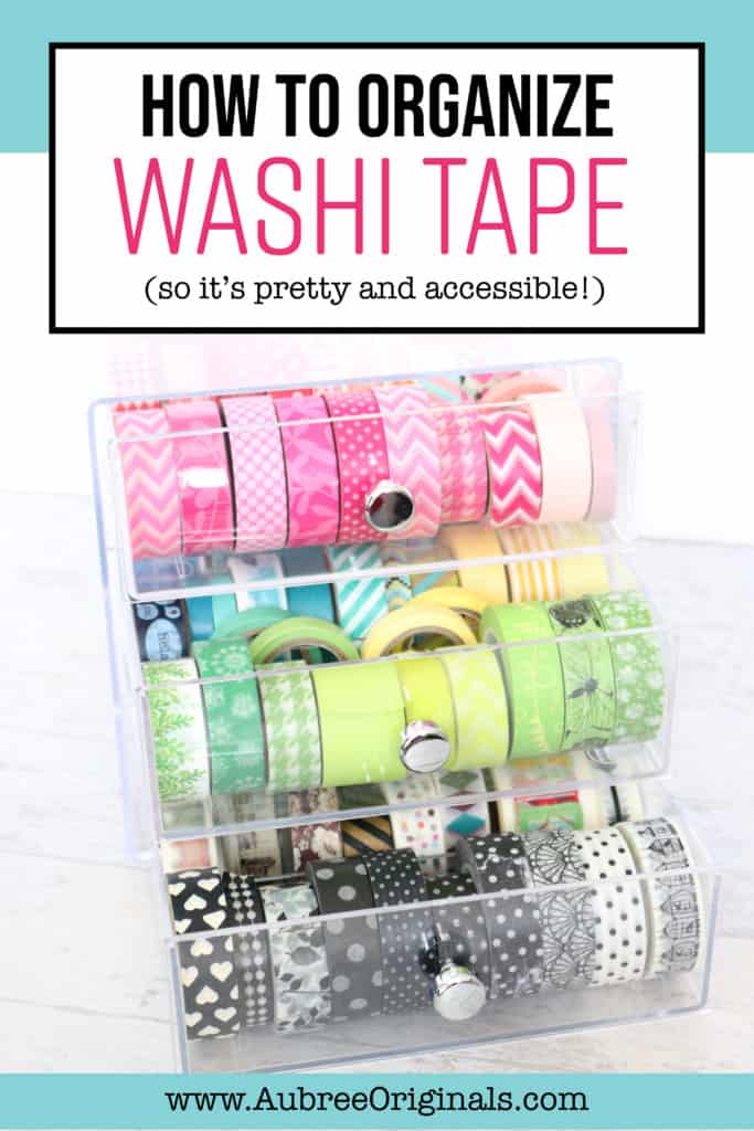 How to organize washi tape--the best way, so you actually use your stash. This is part of my craft room reveal. Check out the blog for more great organization tips!