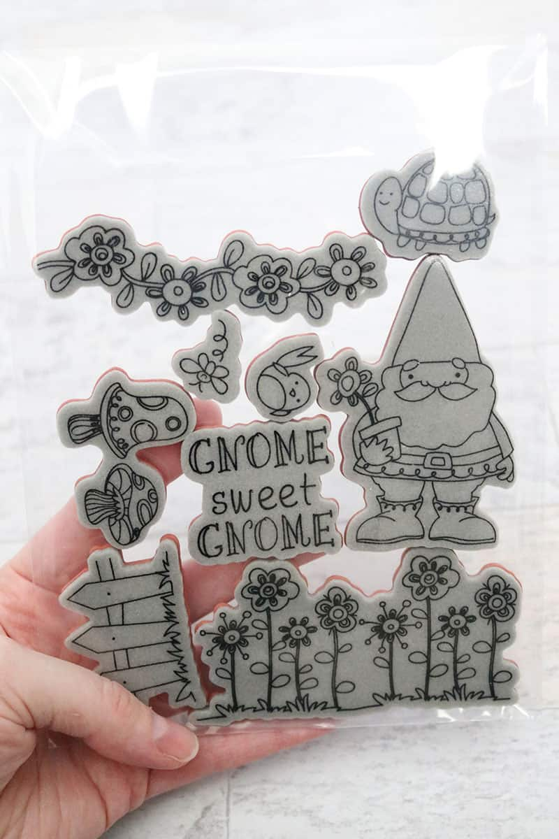 gnome cling stamp set in clear storage sleeve