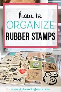 wood-mounted rubber stamps in clear storage container