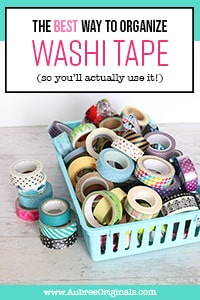 washi tape collection in blue basket