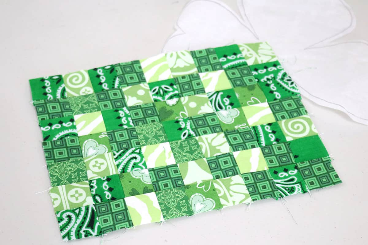 green quilted patchwork block
