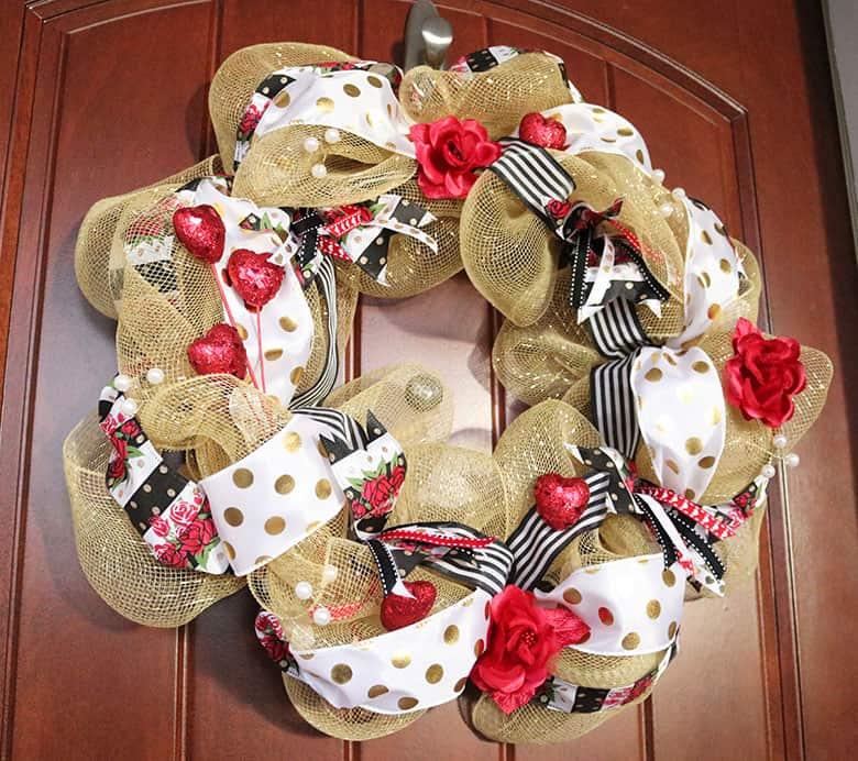 gold Valentine's deco mesh wreath