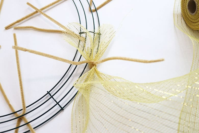 how to make a gold deco mesh wreath