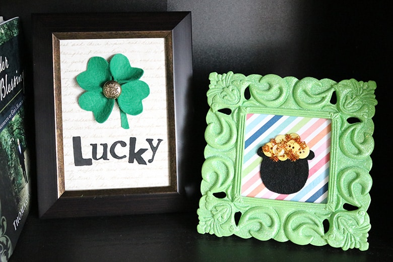 shamrock and pot of gold framed art pieces