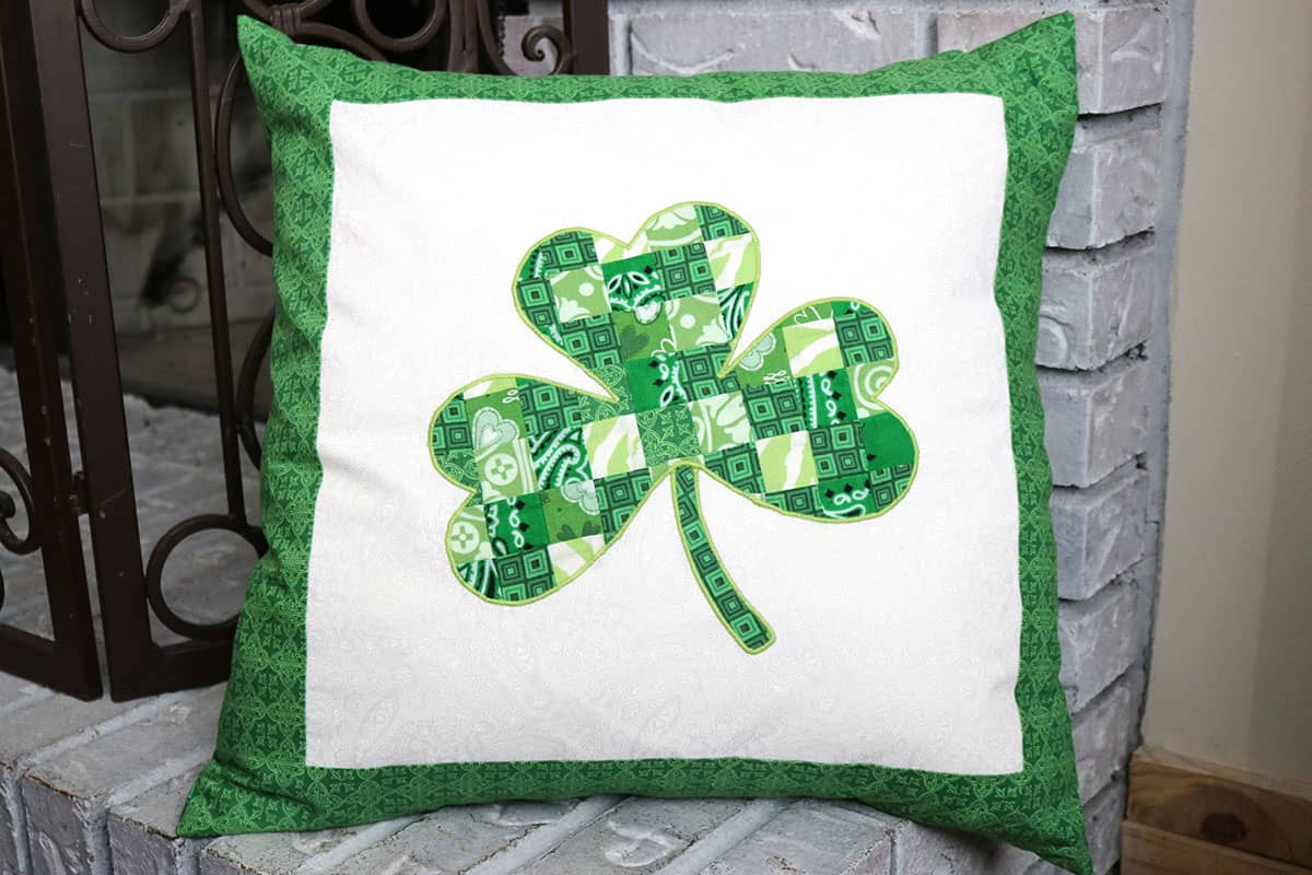 green and white shamrock patchwork applique pillow diy