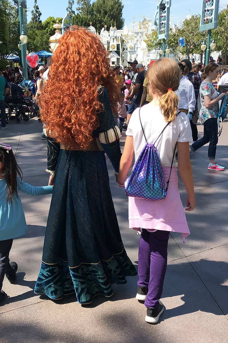 walking with Merida at Disneyland