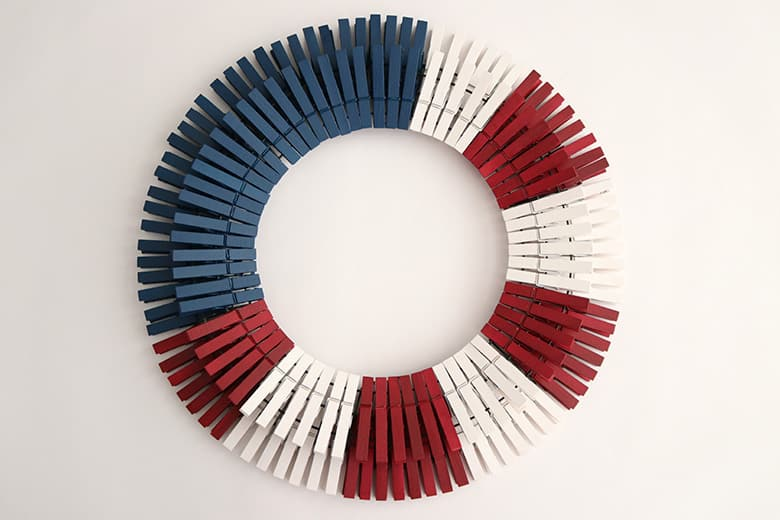 assembling a clothespin wreath