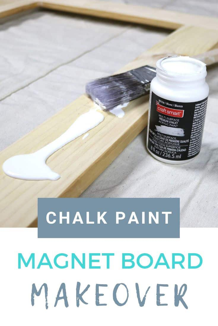 chalk painting a magnet board for a birthday gift