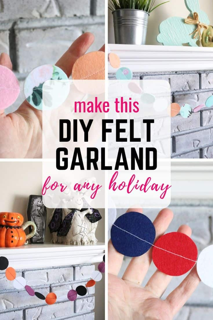 Make an easy felt circle garland for any holiday or event! I use mine as simple mantel decor, but it would be great for DIY party decor, draped across a table runner to accent a centerpiece, or hung from a banister for the holidays. Super easy and cheap beginner sewing project you can make in under an hour!
