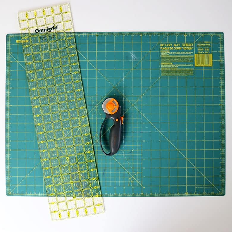 quilting mat, ruler, and rotary cutter
