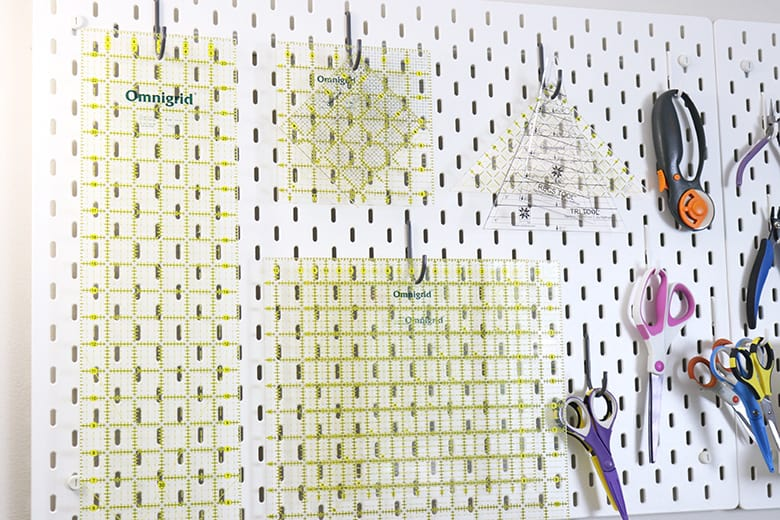 quilting rulers on pegboard