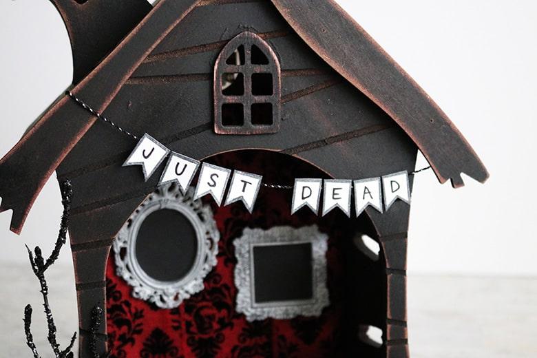 just dead banner halloween fairy garden haunted house