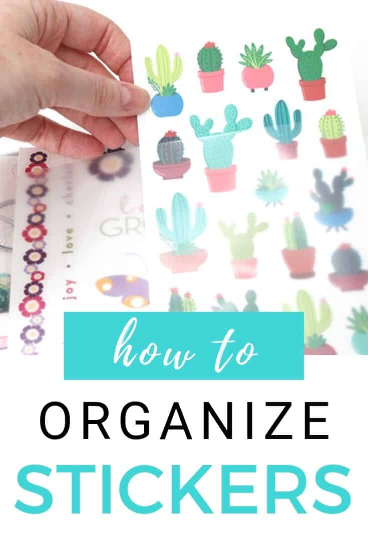 This is the best way to organize stickers! DIY sticker storage binders keep scrapbook and planner stickers organized by categories. Cheap, easy, and compact craft room storage!