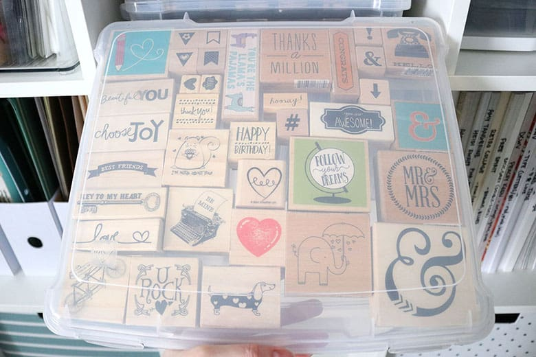 How to organize wood-mounted rubber stamps to save space and be able to easily access your collection! Things to consider when storing rubber stamps.