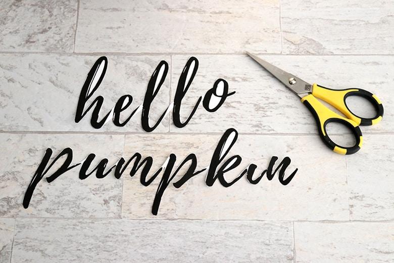 DIY hand lettered pumpkin using a font