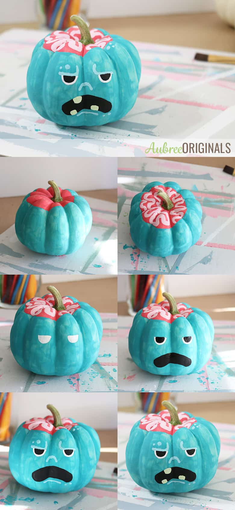 Easy Painted Pumpkins How To Paint Simple Monster Faces Aubree Originals