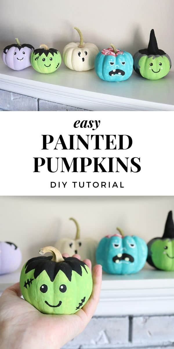 These painted pumpkins with easy monster faces make super cute Halloween decorations! It's a simple pumpkin DIY that even kids can make! A fun Halloween craft using either real or fake pumpkins.