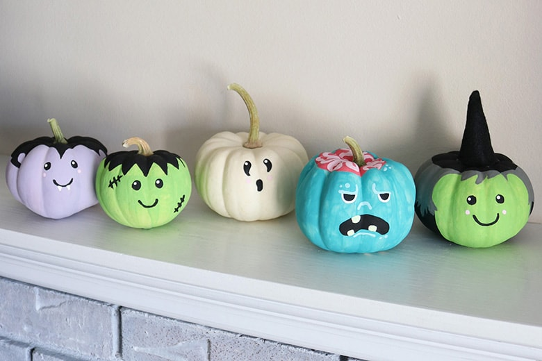 painted monster face pumpkins DIY tutorial