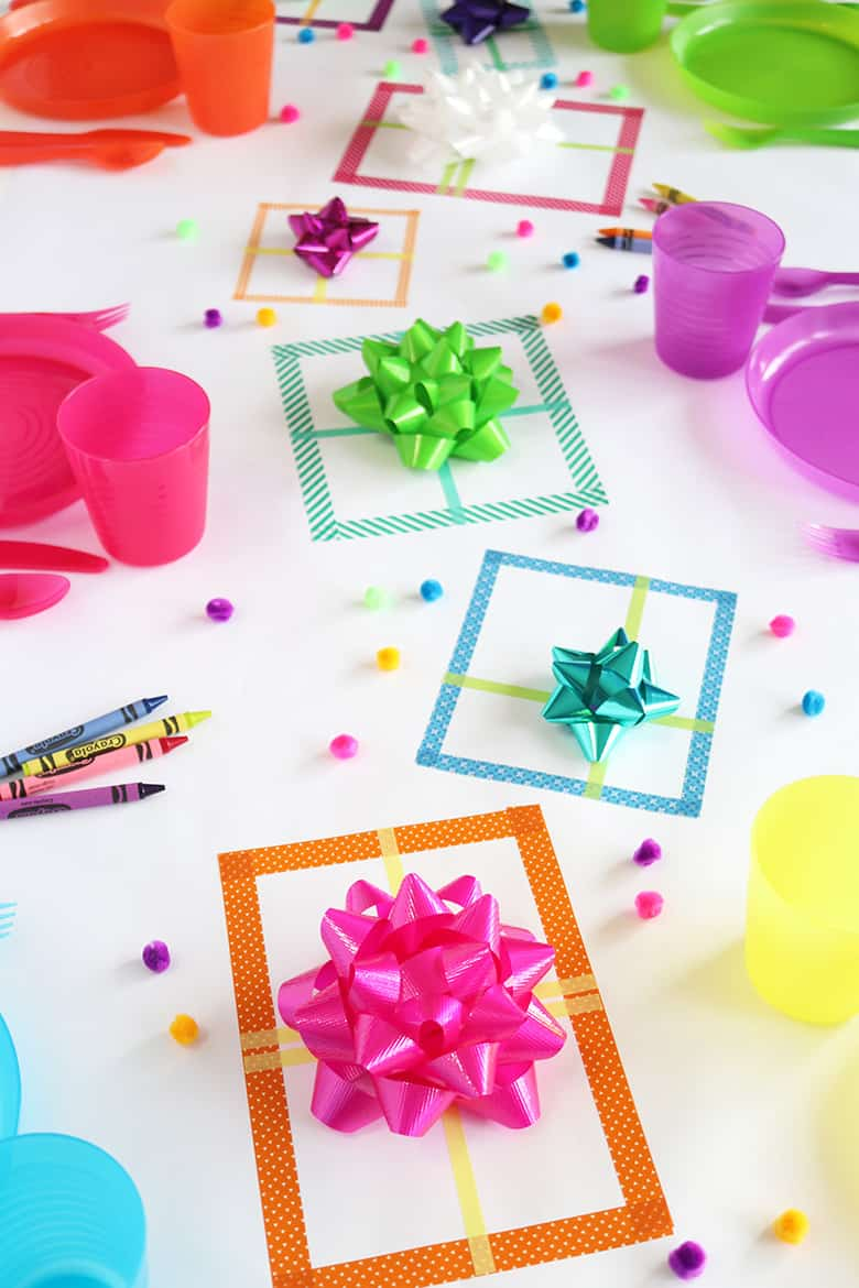 kid-friendlly Christmas tablescape made with stick-on Christmas bows